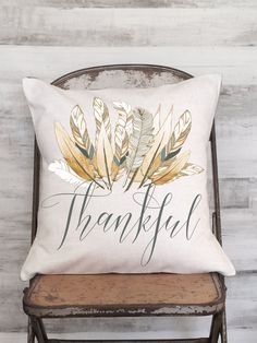 Awesome new Thanksgiving Pillow Cover, our Harvest Feather Thankful! Check out the last picture to see the coordinating Harvest Feather Turkey Pillow