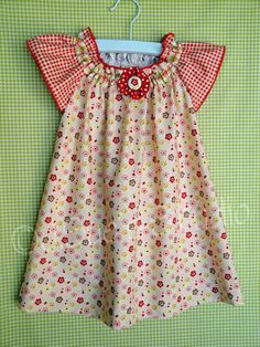 Girls Peasant Dress Farm Fresh Pink Red Vintage by JSuesStudio, $39.99