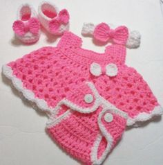 Crochet Bright Pink Baby Girl Dress Set with Diaper Cover