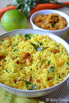 Carrot Lemon Rice  I liken this to the Indian version of Chipotle's Rice for Mexican!  :) Paella, Indian Carrot Recipes, North Indian Recipes, South Indian Food, Asian Recipes, Ethnic Recipes, Rice Substitute, Recipe Recipe, Easy Baking Recipes