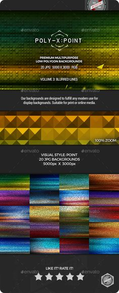 Poly-X:Point Backgrounds Volume 3 - Blurred Lines by meteketem High Resolution Abstract Low Poly Backgrounds for web design, graphic design, video, presentation, general display, or surface tex