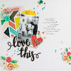 Clean & simple layout with white background and pops of color. Black & white photo.