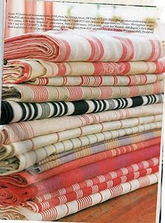 A strong, tightly woven fabric of cotton or linen used to make pillow and mattress coverings Ticking Fabric, Linen Fabric, Pillow Fabric, Red Fabric, French Fabric, Linens And Lace, How To Make Pillows, Fabulous Fabrics, Vintage Textiles