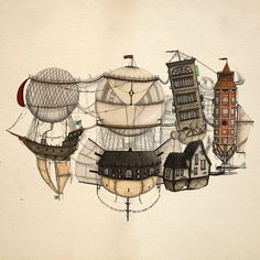 Love these airships Steampunk Images, Steampunk Fashion, Steampunk Drawing, Steampunk Illustration, Photo Manipulation, Drawing Reference, Designs To Draw, Concept Art, Balloons