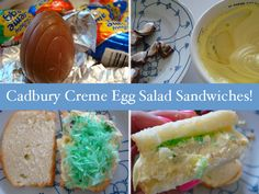 "Cadbury Creme ""Egg Salad Sandwich"".  I'm pinning this not because it looks delicious, which it doesn't, but because it's so crazy.  And it's Cadbury's."