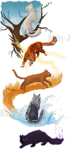 Starting my individual Warrior Cats tributes, the first being Fireheart/Firestar. Trying to emphasize individual characteristics, facial features, fur color/patterns, and body shapes to make each c...