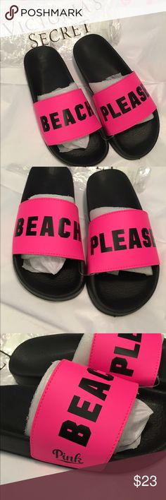 """VS PINK Beach Please Slides Brand New Small 5-6 🎀 Victoria's Secret PINK """"Beach Please"""" Slides. Brand-new in online packaging.  Size Small (5-6).  See pictures.  No holds. All offers (lowest ?'s) via make offer button only please (reasonable offers). Thanks for looking and Happy Poshing! 😊 PINK Victoria's Secret Shoes Sandals"""
