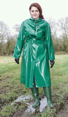 Green pvc mack. Oh, yes I'll make sure you're kept busy.
