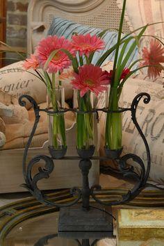 Harp Shaped Vase w/Gerbers.