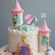 Dinosaur castle birthday cake