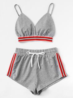 Striped Tape Panel Cami Top With Shorts - Striped Tape Panel Cami Top With ShortsFor Women-romwe Source by jaquelineseis - Cute Lazy Outfits, Teenage Outfits, Teen Fashion Outfits, Sporty Outfits, Swag Outfits, Outfits For Teens, Cool Outfits, Pajama Outfits, Crop Top Outfits