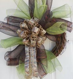 Camoflauge Spiral Grapevine Mesh Wreath by dottiedot05 on Etsy, $30.00