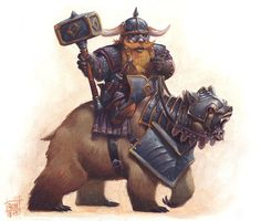 Dwarf Bear Rider by RalphHorsley Warquest hammer riding armored platemail armor clothes clothing fashion player character npc | Create your own roleplaying game material w/ RPG Bard: www.rpgbard.com | Writing inspiration for Dungeons and Dragons DND D&D Pathfinder PFRPG Warhammer 40k Star Wars Shadowrun Call of Cthulhu Lord of the Rings LoTR + d20 fantasy science fiction scifi horror design | Not Trusty Sword art: click artwork for source