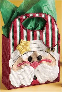 Ribbon Embroidery For Beginners Plastic Canvas - Holiday Plastic Canvas Ornaments, Plastic Canvas Tissue Boxes, Plastic Canvas Crafts, Plastic Canvas Patterns, Plastic Craft, Plastic Mesh, Plastic Canvas Christmas, Christmas Bags, Christmas Crafts
