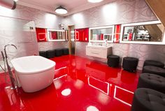 The Big Brother Canada house got a chic makeover for season What better than an espionage inspired theme as cameras spy on houseguests Take a tour of the new house! Big Brother Canada, Canada House, Season 8, House 2, Ottomans, February, New Homes, Tours, Bathroom