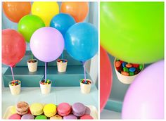 balloons in cups with sweets. hot air balloons!