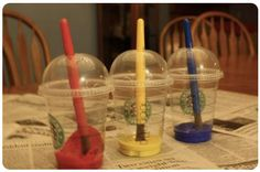 Re-use old starbucks cups as paint holders!