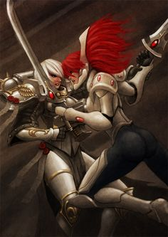 sororitahazel:  Cat fight by Lutherniel   One of my favorite sister of battle pieces.