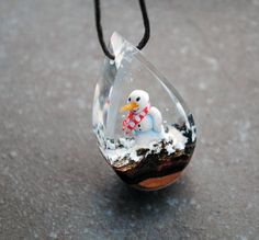 Snowman Necklace Resin Wood Necklace Drop Pendant Christmas