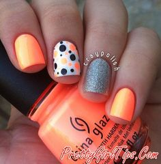 @prettygirltips Orange Nails with Dots and Glitter via