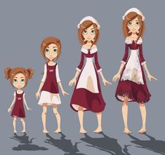 character growing up by layrei on deviantART Female Character Design, Character Design References, 3d Character, Character Concept, Face Characters, Girls Characters, Cute Illustration, Character Illustration, Cartoon Drawings