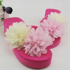 Hot Pink Ivory Rosette Flat Prom Cocktail Party Sandals Shoes Women SKU-1091041