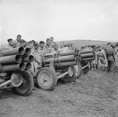 Troops with captured German Nebelwerfer rocket launchers - 7 May 1943