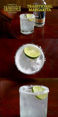 The Cazadores Traditional Margarita   Ingredients:  1 ½ part Cazadores Blanco ½ part premium triple sec ½ part agave nectar 1  part fresh lime juice  Salt the rim of a chilled 12oz rocks glass. Add all the ingredients to a shaker and shake. Pour into the glass over fresh ice and garnish with a wedge of lime.