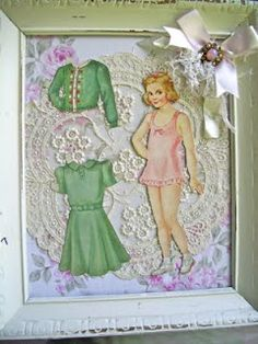 Neat way to use paper dolls- notice the doily in the background. Good way to use vintage needlework, or fabric.