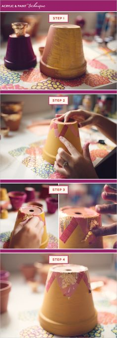 DIY Terra Cotta Pots - Here we teach you how to diy gold leafing and diy decoupage,