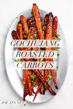 Gochujang Roasted Carrots Are An Easy, Flavor Bomb That You Never Knew You Were Missing. Get The Recipe For This Simple Side Dish At Korean Side Dishes, Side Dishes Easy, Vegetable Side Dishes, Side Dish Recipes, Vegetable Recipes, Vegetarian Recipes, Cooking Recipes, Thanksgiving Side Dishes, Thanksgiving Recipes
