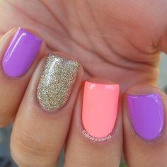 bright pastel nails @rubyrominaa: lavender, coral + gold glitter - fun + girly