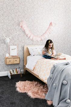 Inside an openplan home fit for a growing family is part of Childrens bedroom wallpaper - Inside an openplan home fit for a growing family, The kitchen is the heart of the home in this charming and contemporary home Big Girl Bedrooms, Little Girl Rooms, Girls Shared Bedrooms, Simple Girls Bedroom, Childrens Bedrooms Girls, Shared Rooms, Childrens Bedroom Wallpaper, Teen Wallpaper, Kid Spaces