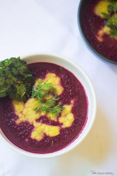 Red and Yellow Beet Soup with Fried Beet Greens via LittleFerraroKitchen.com