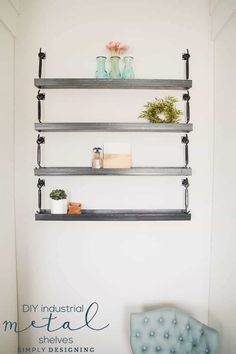 These fun and functional industrial metal sheves are a great way to add incredibly stunning shelves to your space that are both beautiful and functional. Industrial Metal Shelving, Metal Shelves, Diy Vanity Lights, Vanity Lighting, Unique Shelves, Floating Shelves Diy, Upcycled Furniture, Painted Furniture, Herringbone Tile Floors