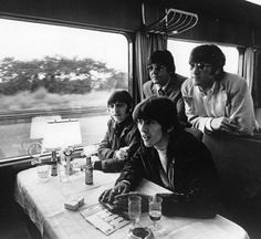 The Beatles travelling through Europe by train, 1966