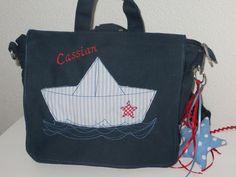 Kindergartentasche bzw. Rucksack mit Schiffchen von Schöne Dinge auf DaWanda.com