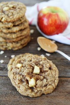 Peanut Butter Apple Oatmeal Cookies Recipe on twopeasandtheirpod.com If you like apples and peanut butter, you will LOVE these cookies! They are SO good!