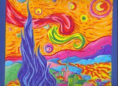 Notte stellata - pennarelli e pastelli a olio