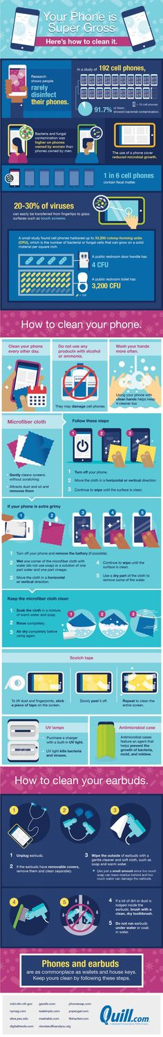 Your Phone Is Super Gross: Here's How To Clean It #Infographic #MobileDevices