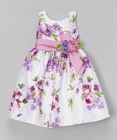 Mauve Floral Stripe Shantung Dress - Toddler & Girls