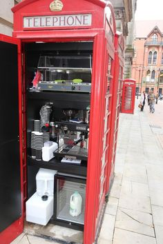 Small but perfectly formed: The coffee shop operates out of a traditional red phone box.birmingham