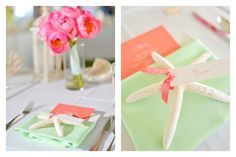 Coral and Mint Green wedding details by Moana Events. Pink peony bouquet. Starfish place card. Tropical beach wedding in Hawaii. Photos by Stephen Ludwig