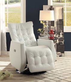 Homelegance Nadra Swivel Power Reclining Chair - White Bi-Cast Vinyl 8544WHT-1PW | Homelement.com