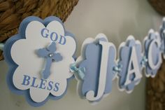 Baptism Banner God Bless Banner Party by treelittlebirdz on Etsy Christening Banner, Christening Decorations, First Communion Banner, First Holy Communion, Decoration Communion, Baptism Party, Baptism Ideas, Paper Bunting, Baby Dedication
