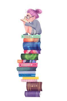 Sin poder parar de leer: lectora compulsiva (ilustración de Taryn Knight)
