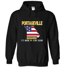 PORTAGEVILLE - Its where my story begins! - #tshirt pattern #tshirt logo. BUY TODAY AND SAVE => https://www.sunfrog.com/No-Category/PORTAGEVILLE--Its-where-my-story-begins-3931-Black-19165007-Hoodie.html?68278
