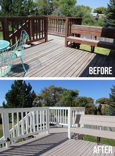 Deck Makeover with Rocksolid Deck Resurfacer - The Craft Patch - Modern Design Deck Makeover, Backyard Makeover, Cool Diy, Easy Diy, Deck Refinishing, Deck Colors, Behr Deck Over Colors, Deck Stain Colors, Diy Deck