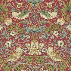 Strawberry Thief by William Morris. The Original Morris & Co - Arts and crafts, fabrics and wallpaper designs by William Morris & Company William Morris Wallpaper, William Morris Art, Morris Wallpapers, Fabric Wallpaper, Pattern Wallpaper, Vintage Wallpaper Patterns, Vintage Backgrounds, Red Wallpaper, Modern Wallpaper
