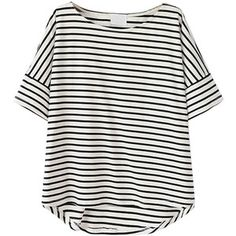 Choies Monochrome Stripe Short Sleeve Dipped Hem T-shirt